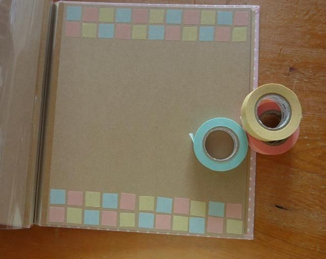 マスキングテープをしかくく切って貼ったらタイルみたい♪ 先日カード作りに