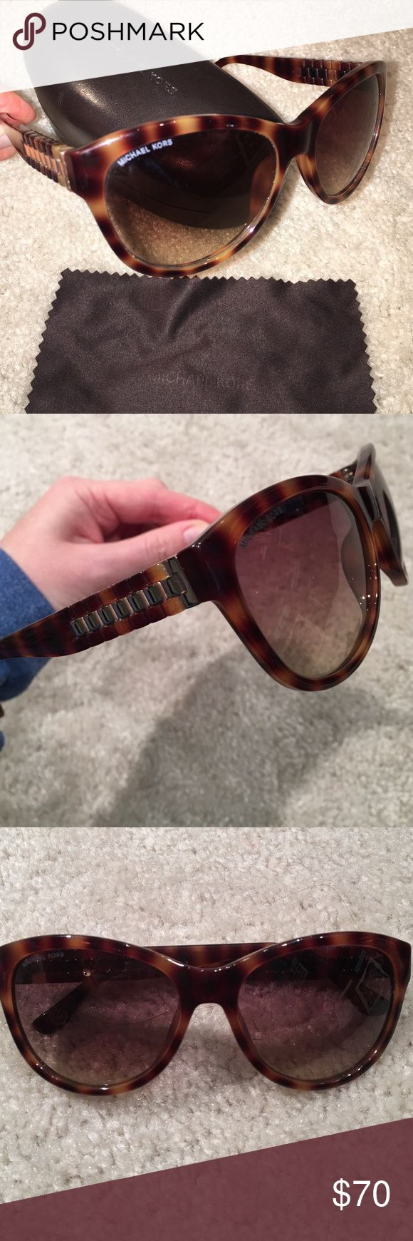 """Michael Michael Kors Tortoise Sunglasses with Case Michael Michael Kors """"Olivia"""" Tortoise Sunglasses with Case. Great condition very little wear shown. Comes with original hard case & lense cleaner. MICHAEL Michael Kors Accessories Sunglasses"""