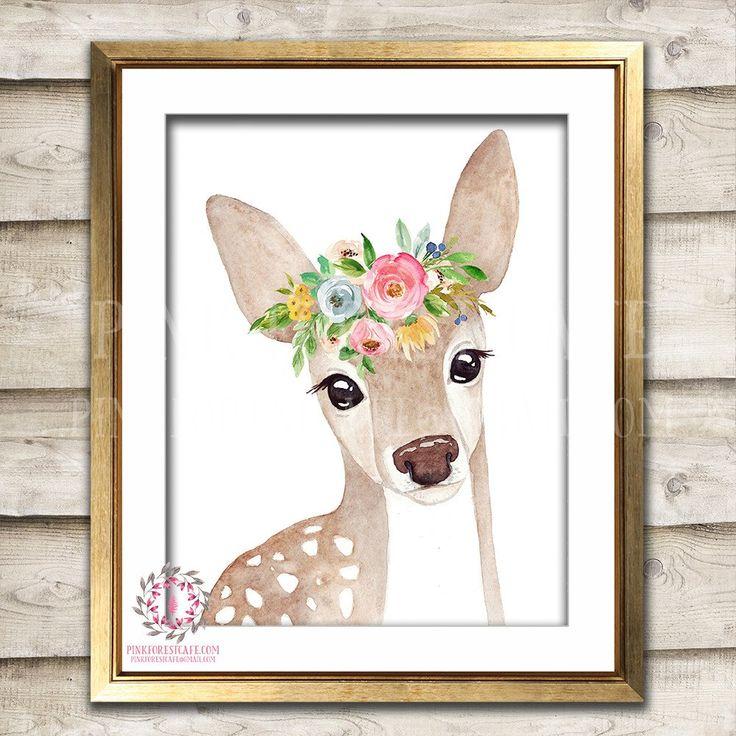 Boho Bohemian Watercolor Deer Woodland Printable Wall Art Print Garden Floral Nursery Baby Girl Room Decor