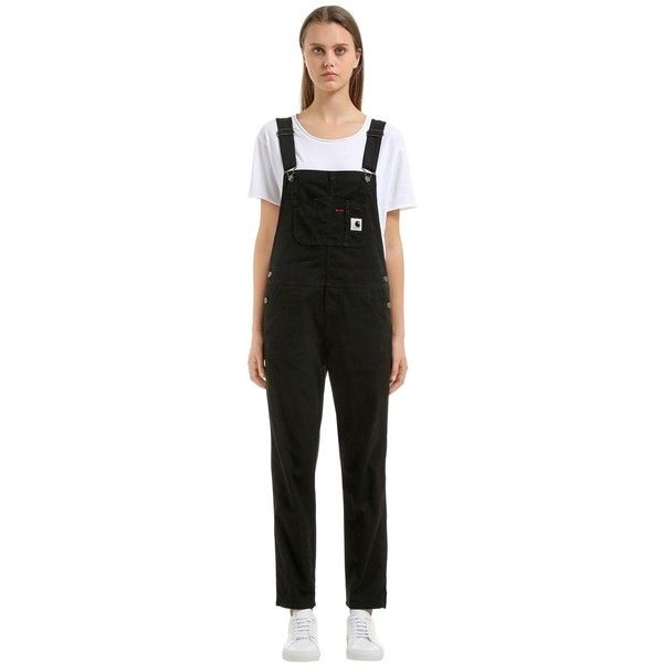Carhartt Women Stretch Cotton Canvas Bib Overalls (253 AUD) ❤ liked on Polyvore featuring jumpsuits, black, carhartt jumpsuit, overalls jumpsuit, carhartt, carhartt overalls and strappy jumpsuit