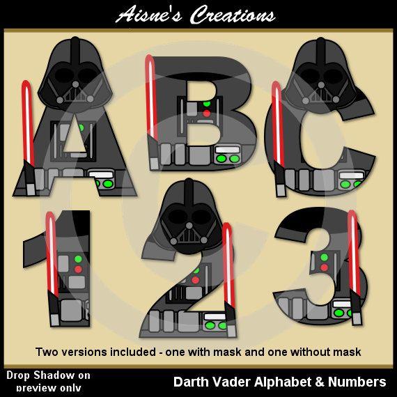 Números y letras del alfabeto de Darth Vader por AisnesCreations
