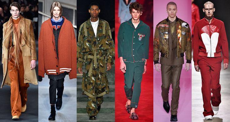 Tendências do Inverno 2017 masculino internacional: Ann Demeulemeester (70s), Raf Simons (oversize), Études Studio (militar), Gucci (pijama), Givenchy (bomber jacket) e Kenzo (tracksuit)