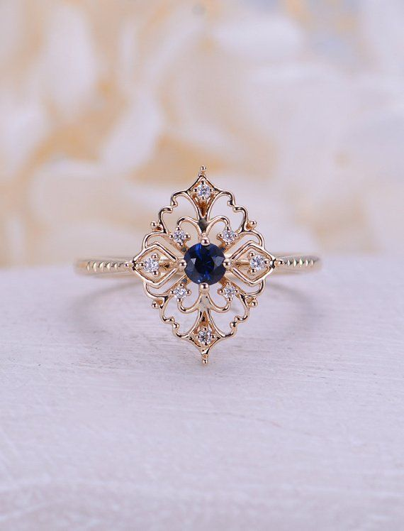 Art Deco Engagement Ring Vintage Sapphire Engagement Ring Rose Gold Floral Unique Diamond Wedding …