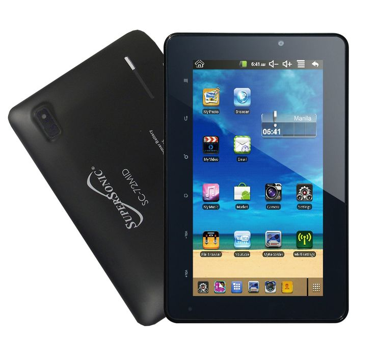 Supersonic 7-inch tablet SC-72MID. Android 4.0 Ice Cream Sandwich, 7 inches Display. All winner A110 1.2 GHz. 4 GB RAM Memory. 802_11_BGN wireless.