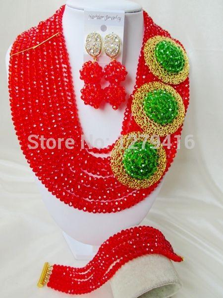 Ювелирных украшений модные и популярные свадебные украшения в нигерии, Африка бусины комплект, Невесты кристалл ожерелье браслет принадлежности A203