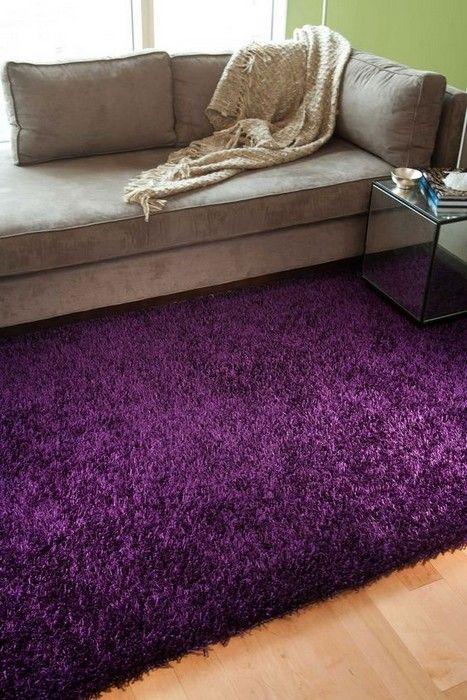 22 Cozy Interior Designs with Shag Carpet Interiordesignshome.com Purple shag rug are simply amazing