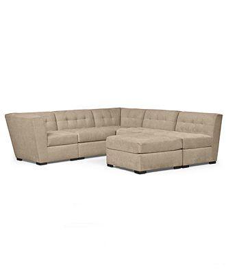 Roxanne fabric modular sectional sofa 6 piece 2 square for Roxanne fabric 6 piece modular sectional sofa