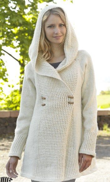 Snow Princess jacket free knitting pattern for coat with hood