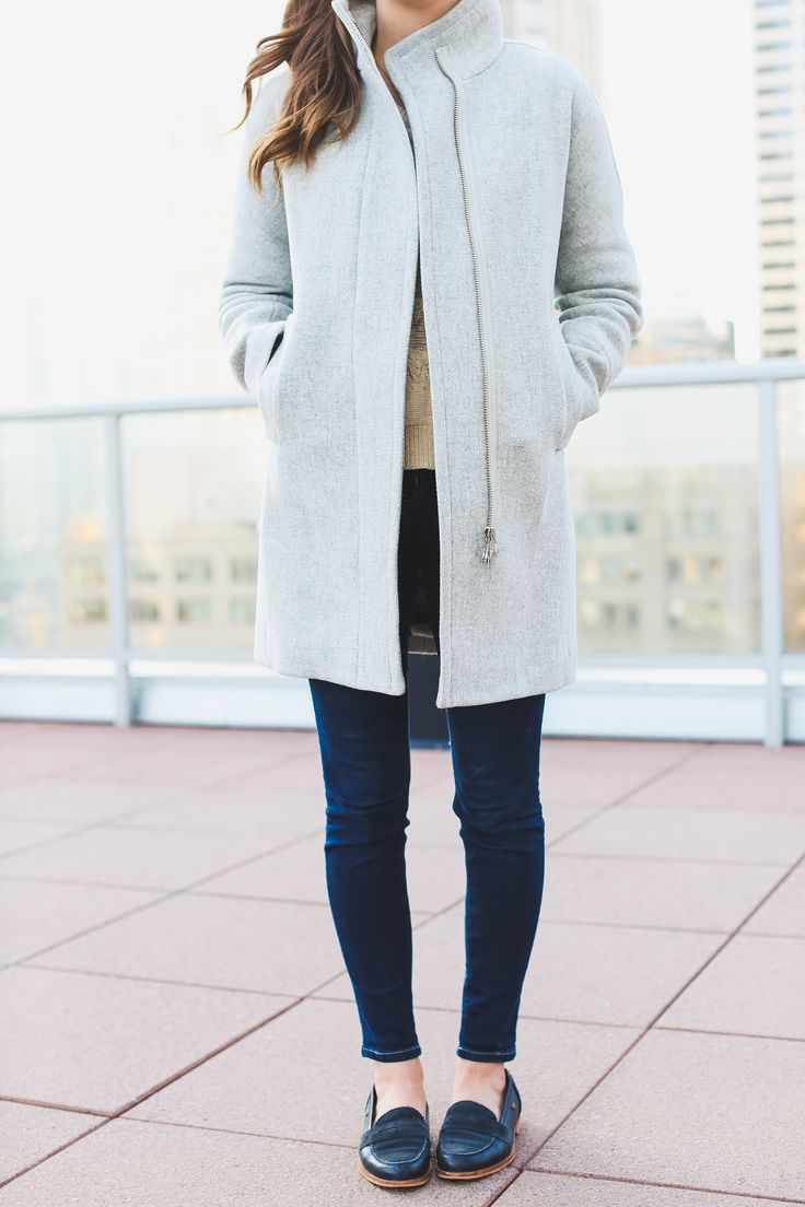 J.Crew Grey Coat, Jeans and Navy Loafers – Chicago Style Blogger, The Golden Girl #Fashion #StreetStyle