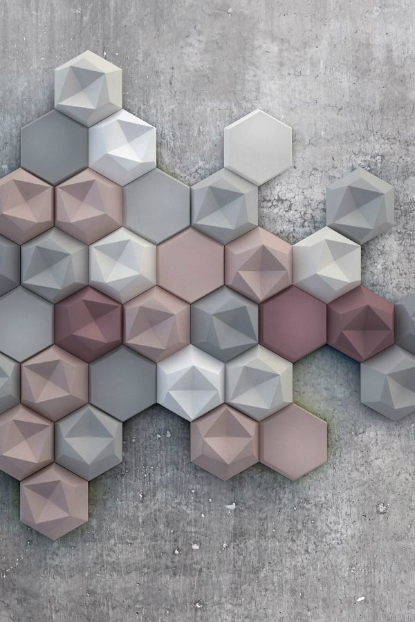 Texture surface. Have textured surfaces wherever you can to complement modern smooth surfaces. You can look for interesting monochromatic textured vases, pottery and even furniture. Image: New Kaza Concrete three-dimensional tile collection