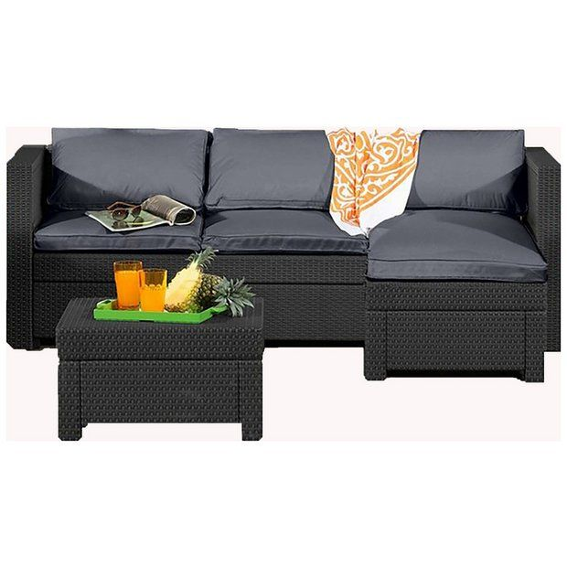Keter Oxford Rattan Effect Outdoor Corner Sofa Graphite Corner Sofa Set Corner Sofa Garden Table Chairs