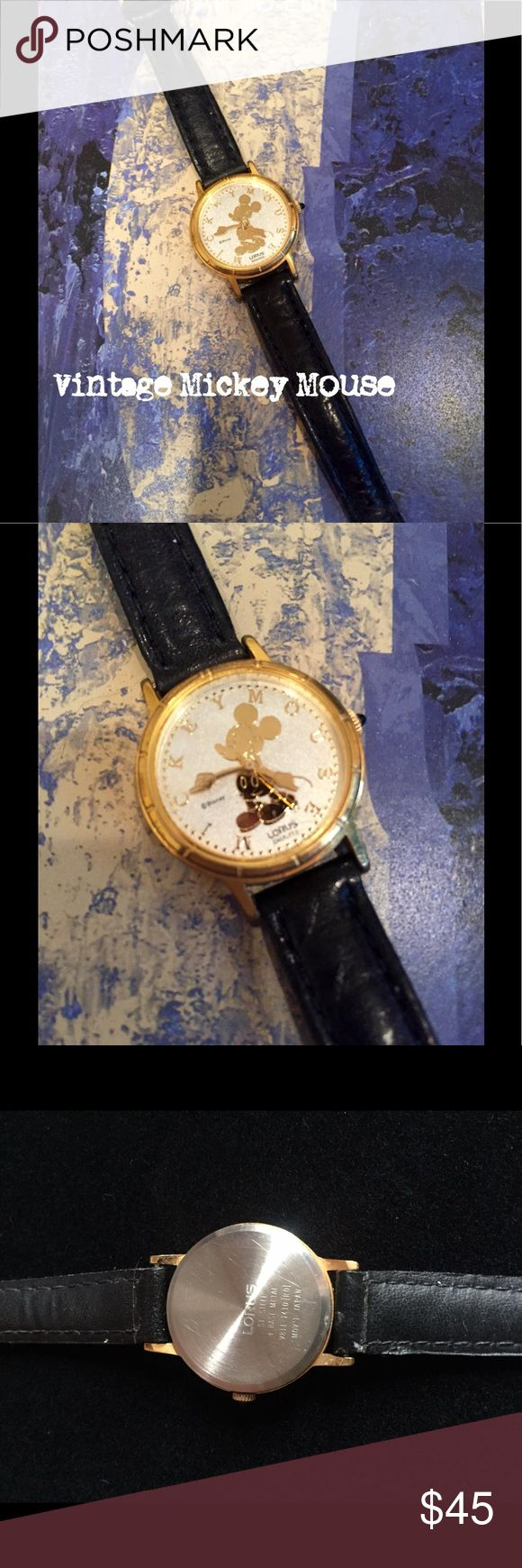 Vintage Lorus Mickey Mouse Watch 💫 Vintage Mickey Mouse Watch, Lorus Quartz, Black Leather Band, Gold Accent... light wear, battery needs to be replaced.. 💫 Lorus Jewelry