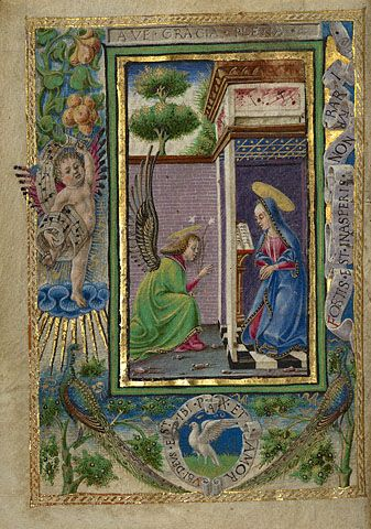 Gualenghi-d'Este Hours   The Annunciation         Taddeo Crivelli  Italian, Ferrara, about 1469  Tempera colors, gold leaf, gold paint, and ink on parchment    4 1/4 x 3 1/8 in.  MS. LUDWIG IX 13, FOL. 3V