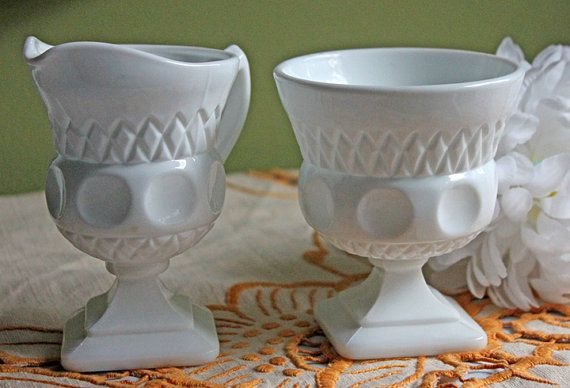 MIlk Glass Sugar Bowl and Creamer.  Embossed Diamond and Moon