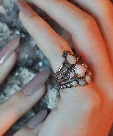 maniamania immortalia opal ceremonial ring stack.
