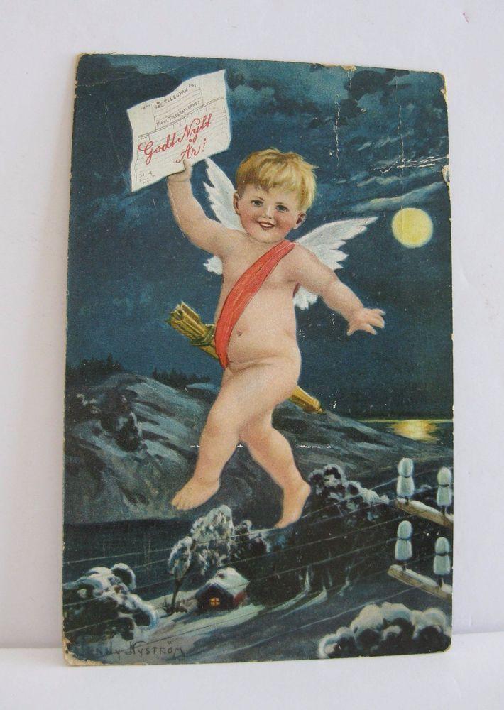 Norwegian Happy New Year Postcard 1908 Artist Jenny ...