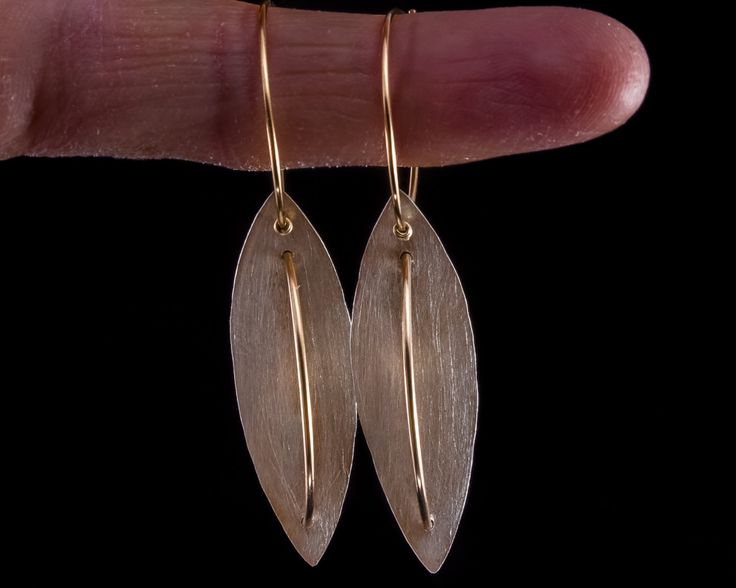 Silver leaf earrings - Sterling silver, Gold-filled by JackAssayagJewelry on Etsy
