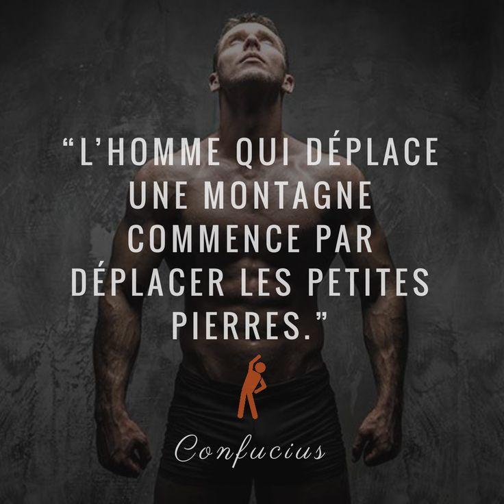 """""""L'homme qui déplace une montagne commence par déplacer les petites pierres."""" - Confucius ... #fitness #gym #musculation #bodybuilding #crossfit #yoga #workout #athlete #sports #squats #fitfam #muscu #fitlife #fitnesslifestyle #physique #muscle #biceps #abs #sixpack #yogalove"""