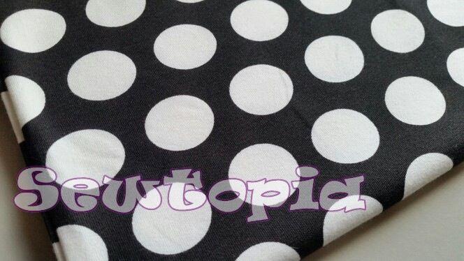 Image of Large white dots on black Cotton Lycra
