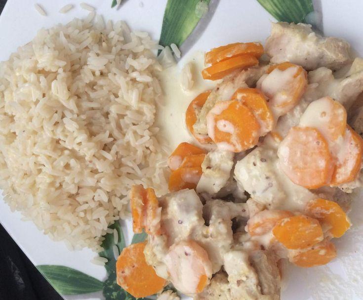 dinde et ses carottes sauce au vin blanc
