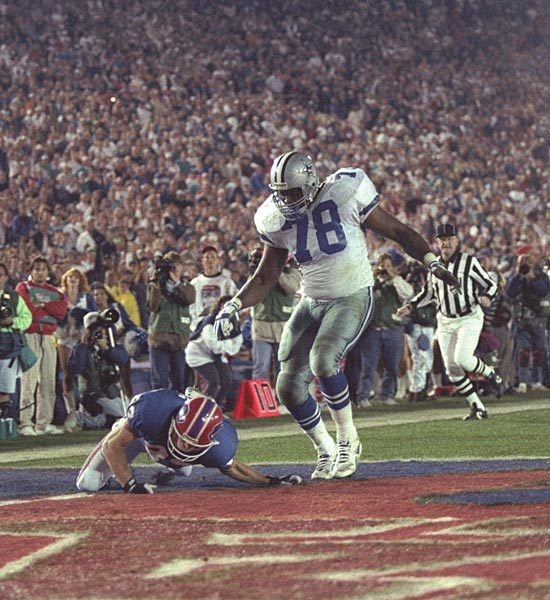 In one of the more bizarre moments in a Super Bowl game, Buffalo WR Don Beebe strips Dallas DT Leon Lett of the ball a split second before Lett crossed the goal line after he scooped up a Frank Reich fumble at the Cowboy 40. He started to celebrate his would-be TD before he crossed the goal line, allowing a hustling Beebe the chance to bat it away. Fortunately for Lett, the Cowboys were up 52-17 at the time, rendering his gaffe absolutely inconsequential to the game's outcome.
