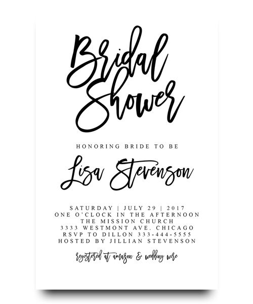 Bridal Shower Invitation, Typography, Bride To Be