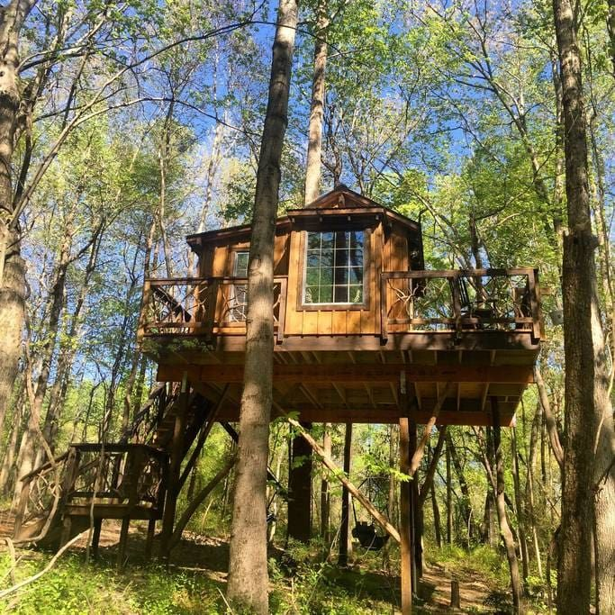Treehouse in China Grove, United States. The treehouse was custom built by two of the country's finest treehouse builders. It's a roomy 220 sq ft with Heat/AC, shower, toilet, and a huge deck. Its sits on a 26 acre farm with beautiful views. (email hidden)