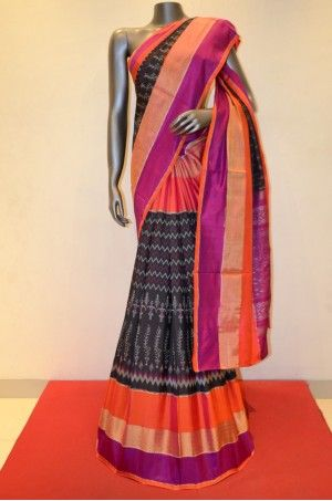 Black Exqusite Patola Silk Saree With Colorful Zari Border       Product Code: AB206179