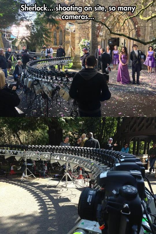 The wedding scene on Sherlock... lots and lots of cameras all taking photos at the same time from different angles.