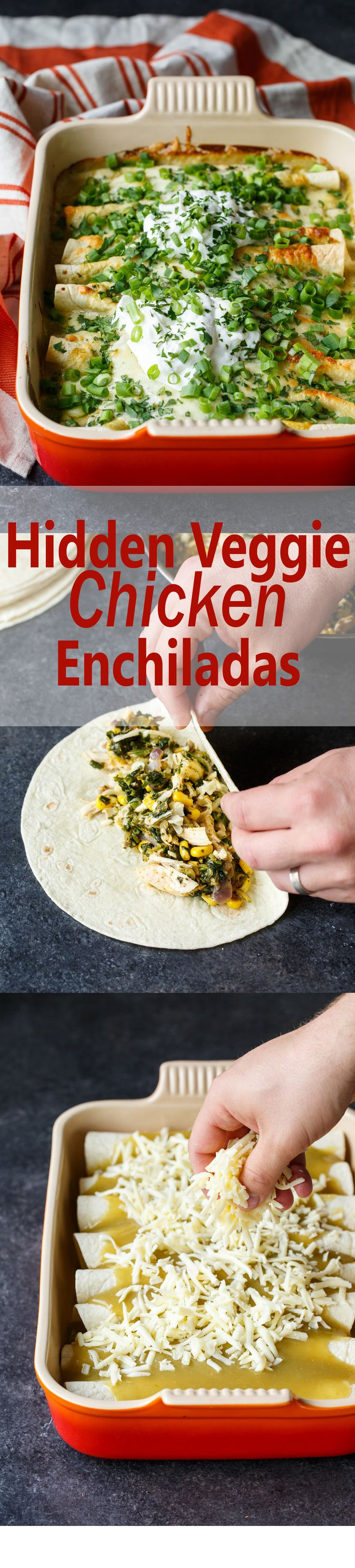 Hidden Veggie Chicken Enchiladas are filled with shredded zucchini, spinach, and corn… all under a layer of green enchilada sauce + LOTS of cheese!  Your kids will never know they are eating healthy vegetables!  It's a meal they'll love and you'll feel good about serving!