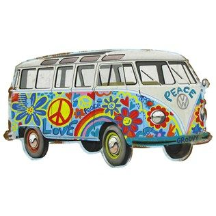 hippy bus die cut tin sign shops shape and buses. Black Bedroom Furniture Sets. Home Design Ideas