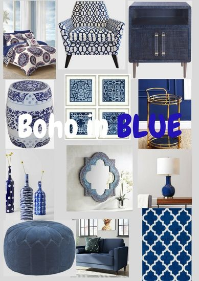 A collection of great accent pieces in boho style all in BLUE ! Pretty little things that make me happy!  #bohodecor #bluedecor #bohoinblue #bohemianhome. #ShopStyle #shopthelook #SummerStyle #MyShopStyle - Michelle Silvia