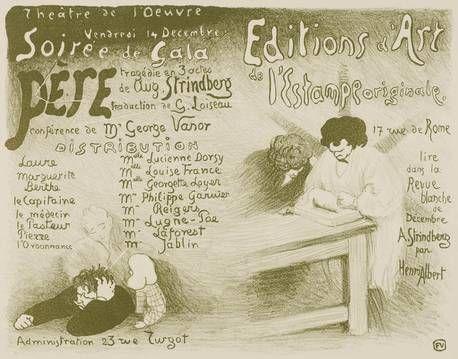 """Félix Vallotton (Lausanne, 1865 - Paris, 1925) Programme pour """"Père"""" d'August Strindberg, 1894 Lithographie sur vélin, en vert, 24,5 x 32 cm Acquisition avec un crédit supplémentaire de l'État de Vaud, 1997 Inv. 1997-067 © Musée cantonal des Beaux-Arts de Lausanne"""