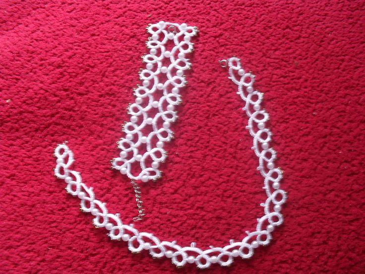 frivolitkový náhrdelník a náramek s prodluž.řetízkem