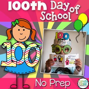 Make the 100th day of school a memorable celebration, and save time making it fun and educational with this NO PREP 100 days of school resource! Even includes three print and crafts! The 100th days smarter glasses and hat are great for students to sport in a parade!