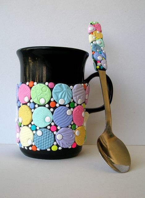Coffee cup & spoon done up in #polymer #clay Simply soft and nice by klio1961, via Flickr