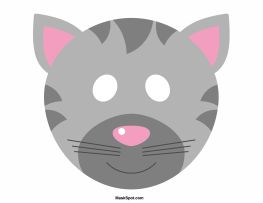 Cat mask template. There is also a coloring page version of the mask. Free printable PDF at http://maskspot.com/download/cat-mask/