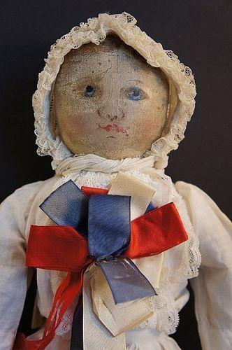 "Antique Columbian rag doll 15"" early maker mark of Emma Adams 1890's - Pat Hatch Antiques #dollshopsunited"
