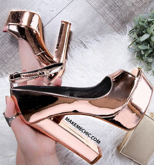 Party Metallic Platform Pumps ROSE GOLD