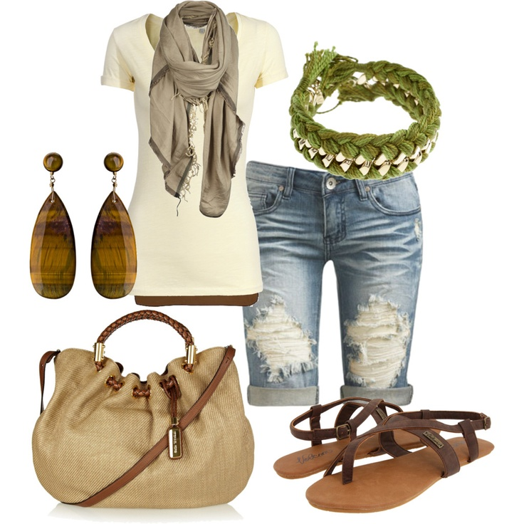 Wooden earrings, braided bracelet, knee length shorts, short sleeves and scarf with cute big bag. Neutrals colors and natural look, relaxed.