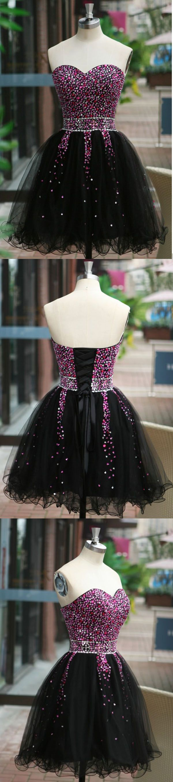 Sexy Sequins Beaded Sweetheart Prom Dress Homecoming Dress Tulle Homecoming…