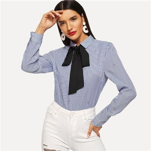 6cd0ca168ad036 Office Lady Tied Neck Botanical Pinstripe Striped Mixed Print Shirt ...