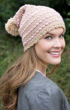 Puff Stitch Hat Free Crochet Pattern from Red Heart Yarns