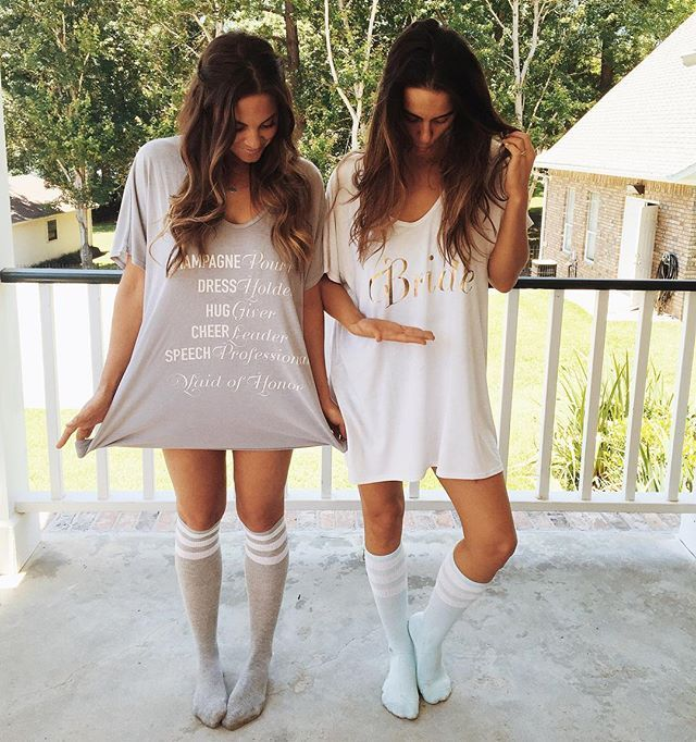 The bride and her maid of honor getting ready on the big day in our new Mumu Weddings tees! #loveatthelakehouse #cammyandnico