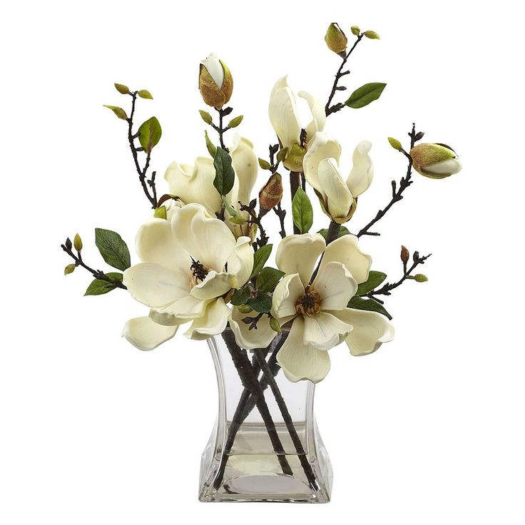 nearly natural Artificial Magnolia Arrangement, White