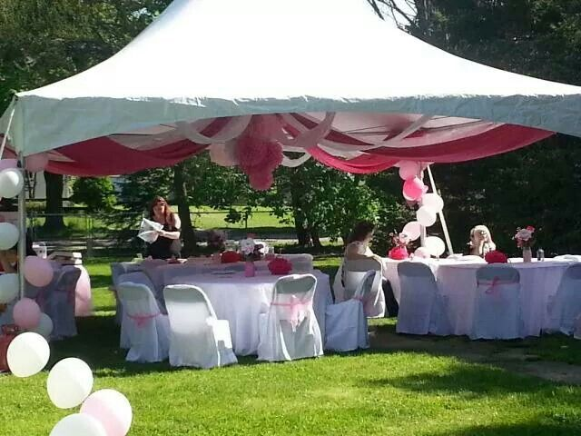 Decorated a high peak tent with a drop ceiling for an for Baby shower canopy decoration
