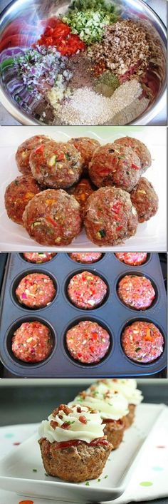 lean ground beef ~ bell peppers ~ onions ~ garlic ~ mushrooms ~ eggs ~ zucchini ~ italian bread crumbs ~ SPICES ~ Mix all ingredients and divide into several meatballs. Add them to the muffin pan and bake for 40 minutes @ 350degrees. Top with mashed potatoes and sprinkle with bacon bits!