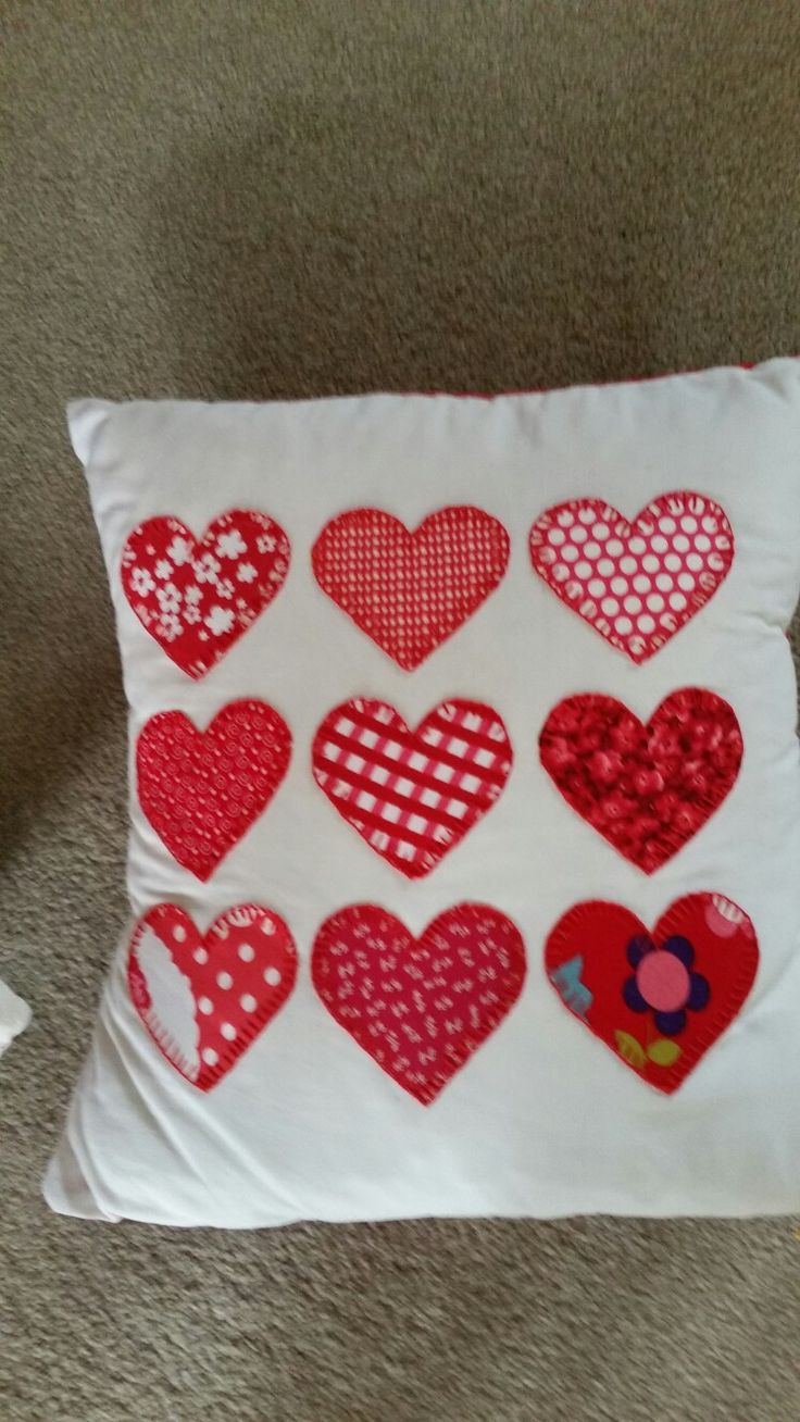 Red Heart Blanket Stitch Cushion