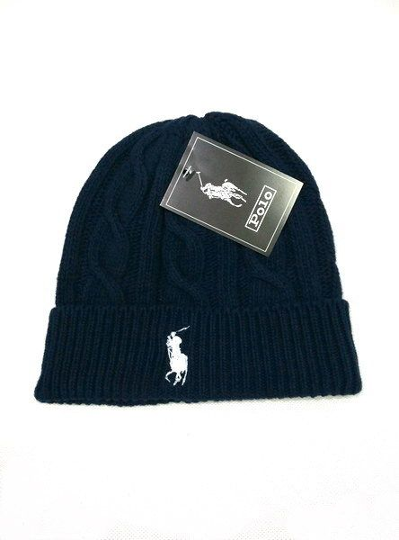Men's / Women's Polo Ralph Lauren Big Pony Embroidered Cable Knit Ribbed Cuff Winter Beanie Hat - Navy / Coffee