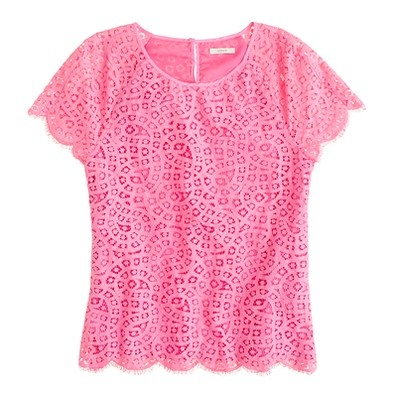 J.Crew Lace-use Trio T patternLace Tops, Style, Raindrop Lace, Pink Lace, J Crew, White Pants, Jcrew, White Jeans, Neon Pink